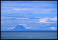 Mt Augustine, a volcano seen across the Cook Inlet. Ninilchik, Alaska, USA (color)