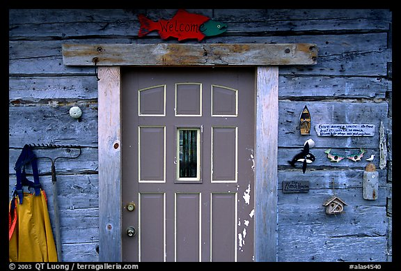 Wooden cabin door. Ninilchik, Alaska, USA (color)