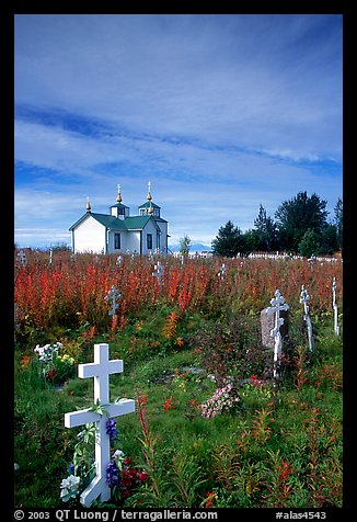 Russian orthodox cemetery and old Russian church. Ninilchik, Alaska, USA (color)