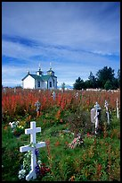 Russian orthodox cemetery and old Russian church. Ninilchik, Alaska, USA