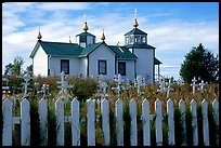 Picket Fence and old Russian church. Ninilchik, Alaska, USA