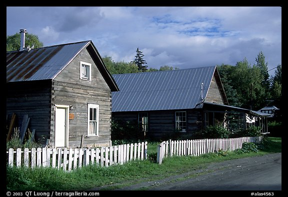 White picket fence and wooden houses. Hope,  Alaska, USA