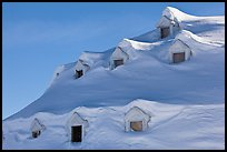 Snow-covered roof with windows. Alaska, USA ( color)