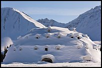 Snow-covered dome-shaped building. Alaska, USA ( color)