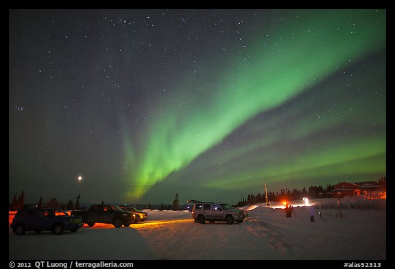 Viewing the Northern Lights at Cleary Summit. Alaska, USA (color)