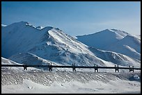 Trans Alaska Pipeline and snow-covered mountains. Alaska, USA (color)