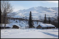 Cabins and winter landscape. Wiseman, Alaska, USA ( color)