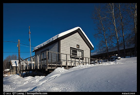 Chatanika mining camp in winter. Alaska, USA (color)