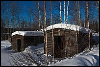 Cabins with gold dredging equipment, Chatanika. Alaska, USA (color)