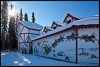 Santa Claus House and sun in winter. North Pole, Alaska, USA ( color)