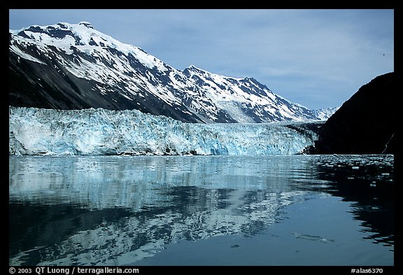 Barry glacier and mountains reflected in the Fjord. Prince William Sound, Alaska, USA (color)