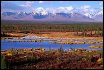 Kettle Lakes, tundra, and mountains. Alaska, USA ( color)