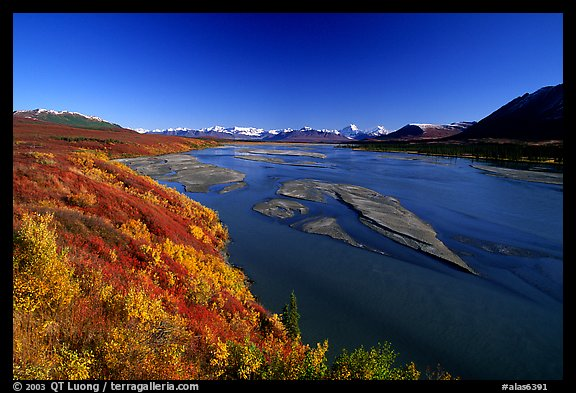 Wide river and autumn colors on the tundra. Alaska, USA