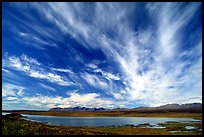 Clouds, tundra and lake along Denali Highway. Alaska, USA ( color)