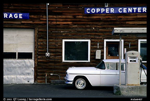 Gas station at Copper Center. Alaska, USA (color)