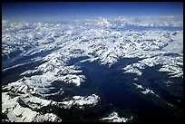 Aerial view of Glaciers in Prince William Sound. Prince William Sound, Alaska, USA (color)