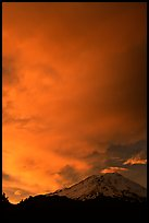 Clouds dramatically colored at sunset above Mt Shasta. California, USA ( color)