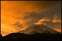 Fiery sky over Mount Shasta at sunset. California, USA (color)