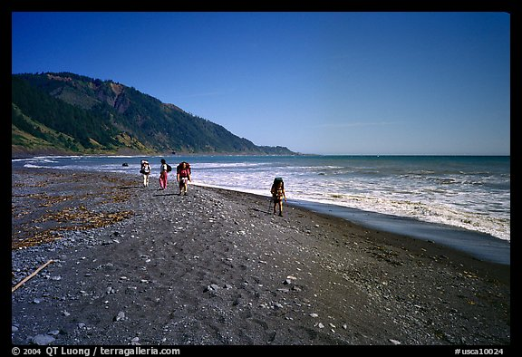 Backpacking on black sand beach, Lost Coast. California, USA