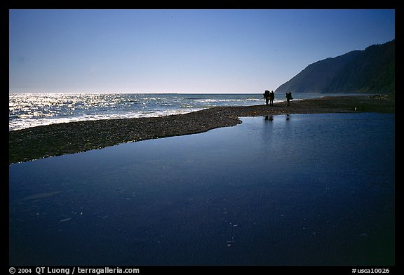 Pool and hikers, Lost Coast. California, USA