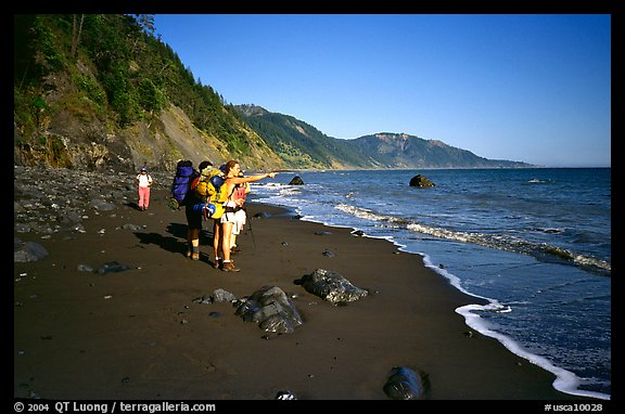 Backpackers on the beach,  Lost Coast. California, USA