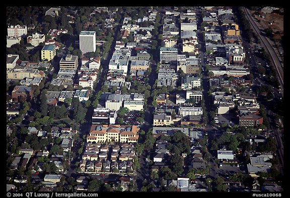 Aerial view of downtown. Palo Alto,  California, USA