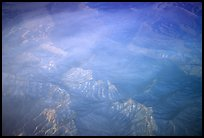 Aerial view of desert mountains with thin clouds. California, USA ( color)