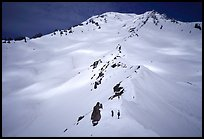 Mount Shasta with climbers on Green Ridge. California, USA (color)