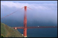 Golden Gate bridge with top covered by fog. San Francisco, California, USA