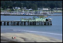 Couple on the beach and pier, Pillar Point Harbor. Half Moon Bay, California, USA