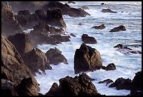 Pointed rocks and surf, Garapata State Park. Big Sur, California, USA (color)