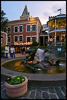 Fountain at dusk, Ghirardelli Square. San Francisco, California, USA