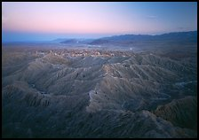Badlands at dusk, Font Point. Anza Borrego Desert State Park, California, USA ( color)