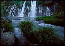 Grasses, stream and wide waterfall, Burney Falls State Park. California, USA