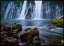 Wide waterfall over basalt, Burney Falls State Park. California, USA (color)