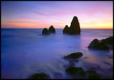 Seastacks and rocks, sunset, Rodeo Beach. California, USA ( color)