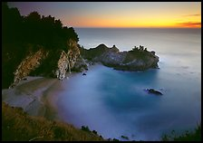 Mc Way Cove and waterfall at sunset. Big Sur, California, USA ( color)