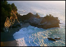 Mc Way Cove and waterfall, late afternoon. Big Sur, California, USA
