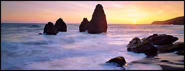Sea stacks and setting sun, Rodeo Beach. California, USA (Panoramic color)