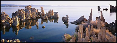 Lake tufa scenery. Mono Lake, California, USA (Panoramic color)