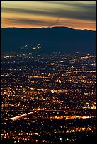 Lights of San Jose at dusk. San Jose, California, USA (color)