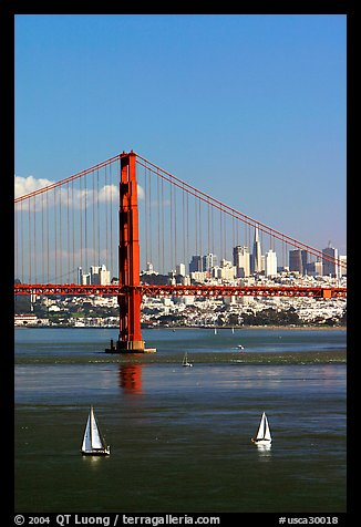 Sailboats, Golden Gate Bridge with city skyline, afternoon. San Francisco, California, USA