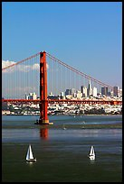 Sailboats, Golden Gate Bridge with city skyline, afternoon. San Francisco, California, USA (color)