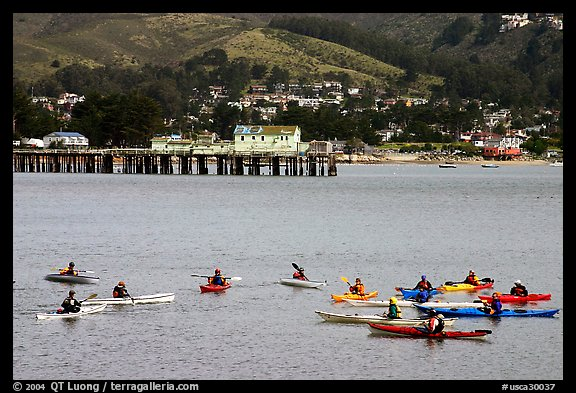 Sea kayaking in  Pillar point harbor. Half Moon Bay, California, USA