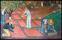 Harvest scene depicted in a fresco inside Coit Tower. San Francisco, California, USA ( color)