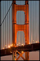 Golden Gate Bridge pillar at night. San Francisco, California, USA ( color)