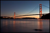 Golden Gate and Bridge, sunset. San Francisco, California, USA ( color)