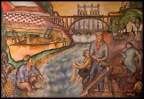 Depression-area fresco showing a dam. San Francisco, California, USA ( color)