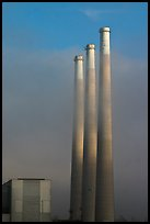 Vertical stacks of power plant. Morro Bay, USA (color)