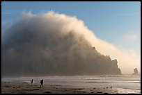 Couple walking on the beach, with Morro Rock and fog behind. Morro Bay, USA